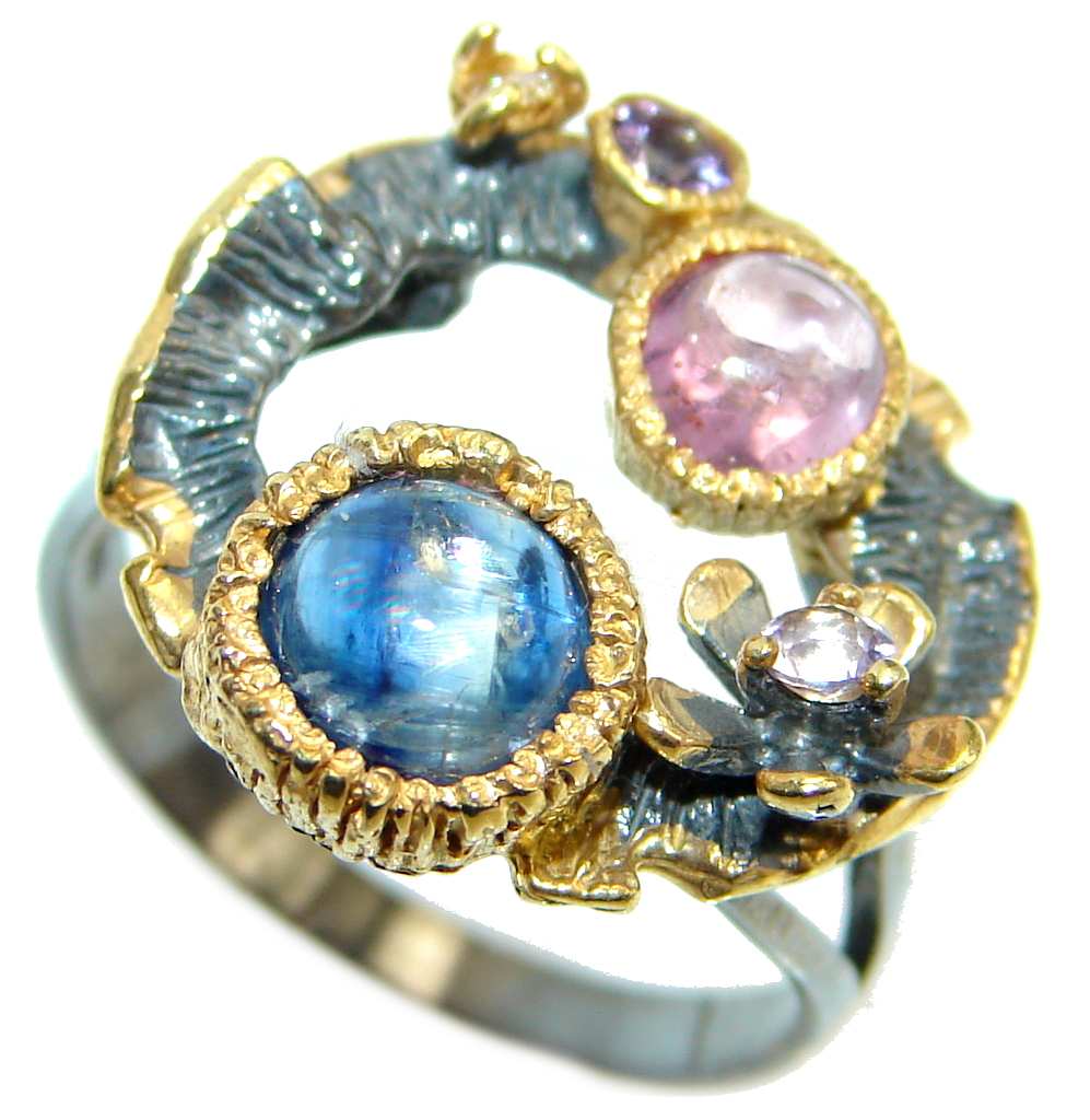 Amazing natural Sapphire Ruby Gold Plated Sterling Silver Ring s. 9