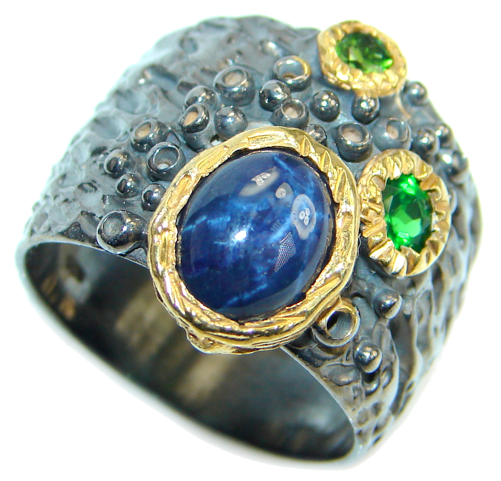 Fine art Blue Star Sapphire Chrome Diopside 925 Sterling Silver Ring Size 8