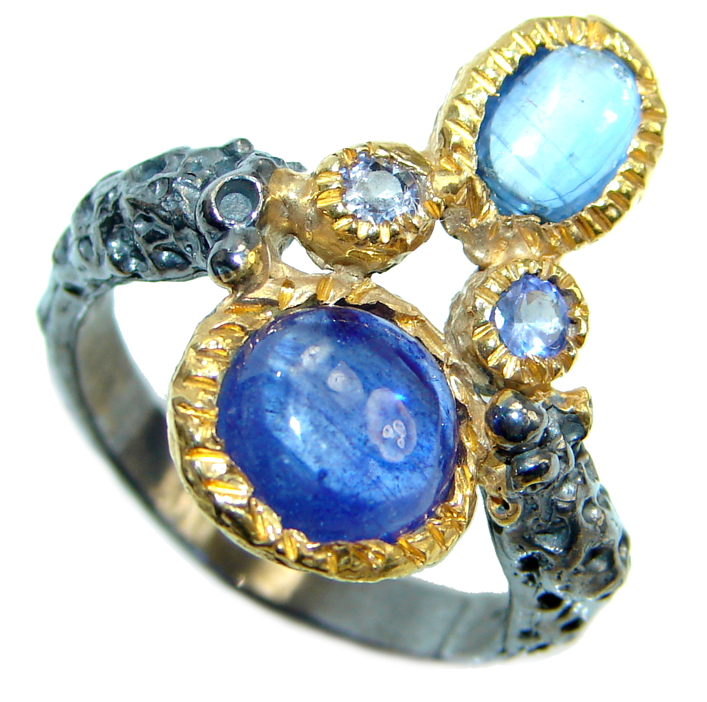 Amazing natural Sapphire Ruby Gold Plated Sterling Silver Ring s. 8