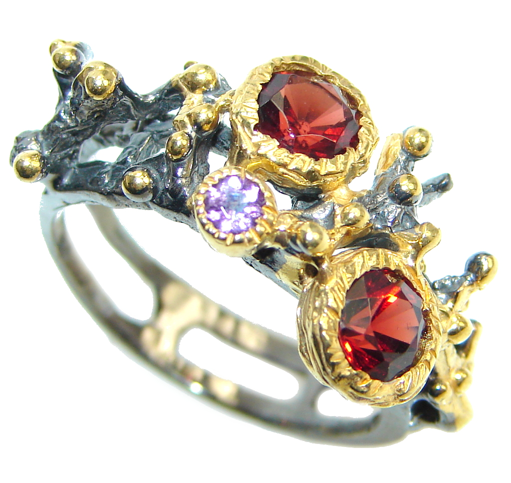 Genuine   Rhodolite Garnet Gold plated over Sterling Silver  made ring size 8