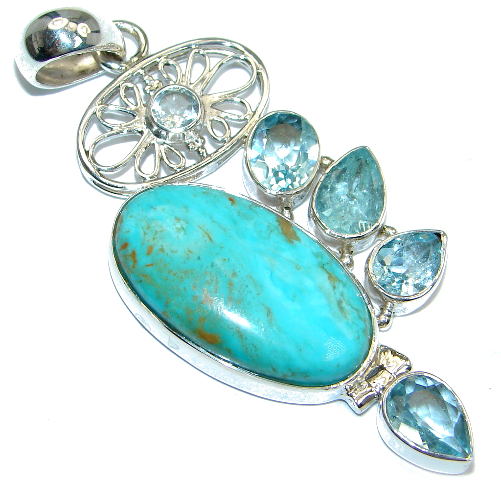 Authentic Sleeping Beauty  Turquoise Sterling Silver handmade Pendant