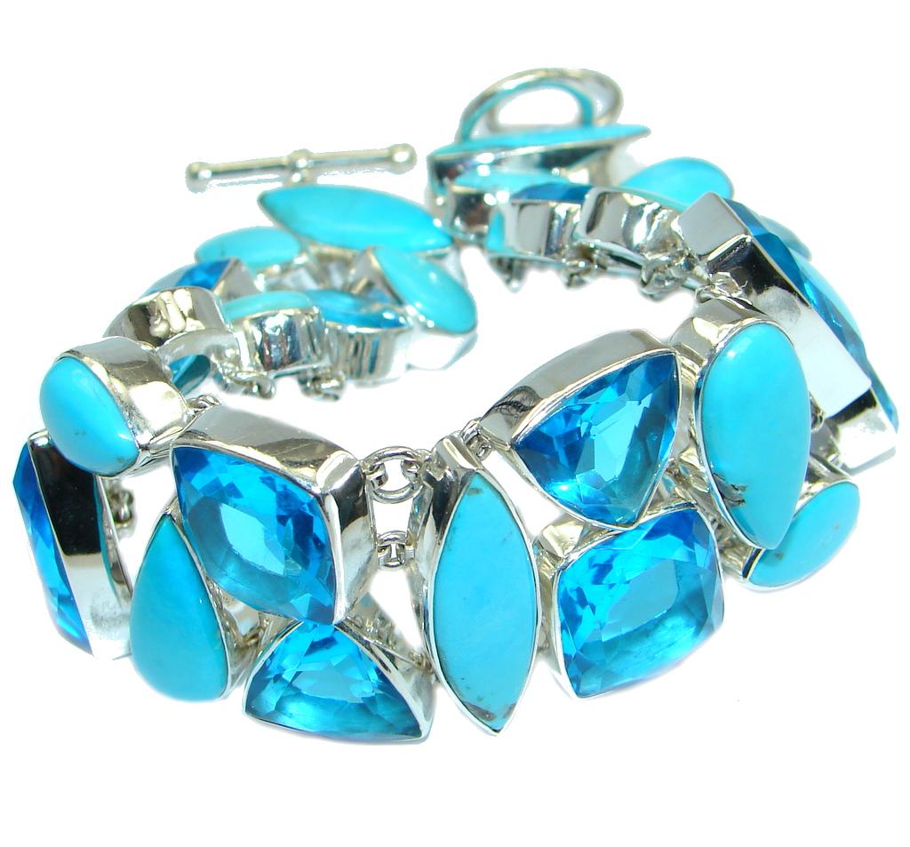 Blue Abundance Genuine Sleeping Beauty Quartz Sterling Silver handmade Bracelet