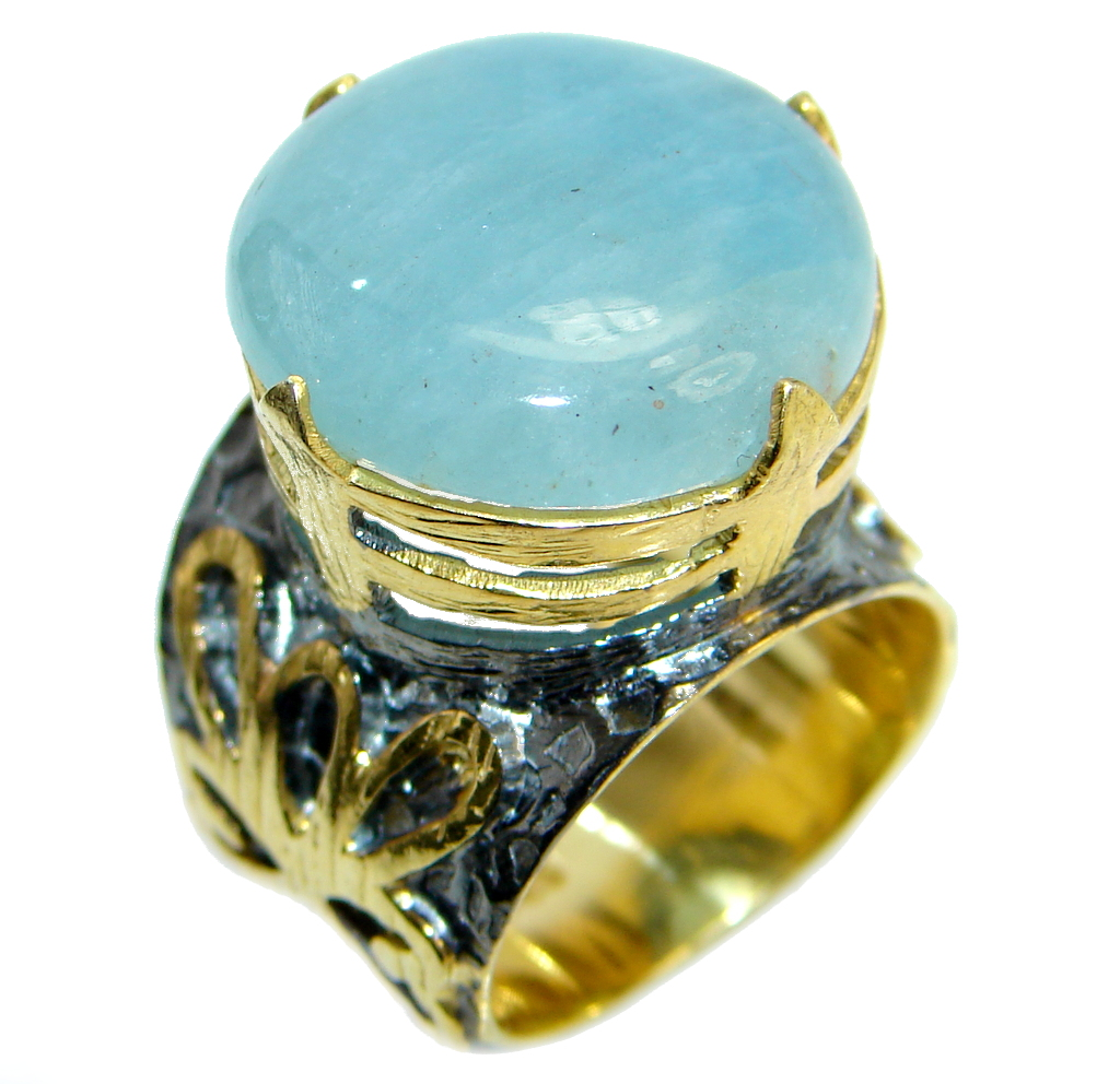 Passiom Fruit Natural 8 ct. Aquamarine Gold  Plated over Sterling Silver Rin..