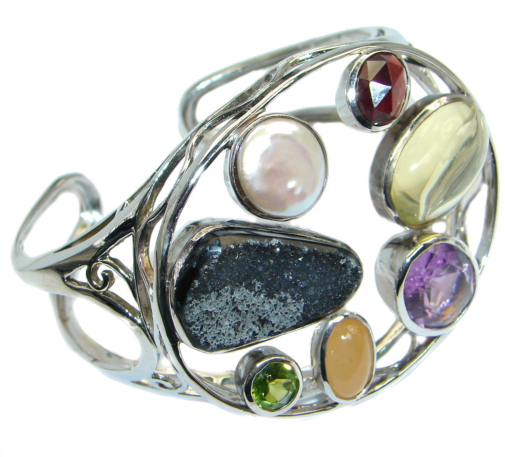 Sublime One of the kind  Genuine Multigem   Sterling Silver handmade Bracelet