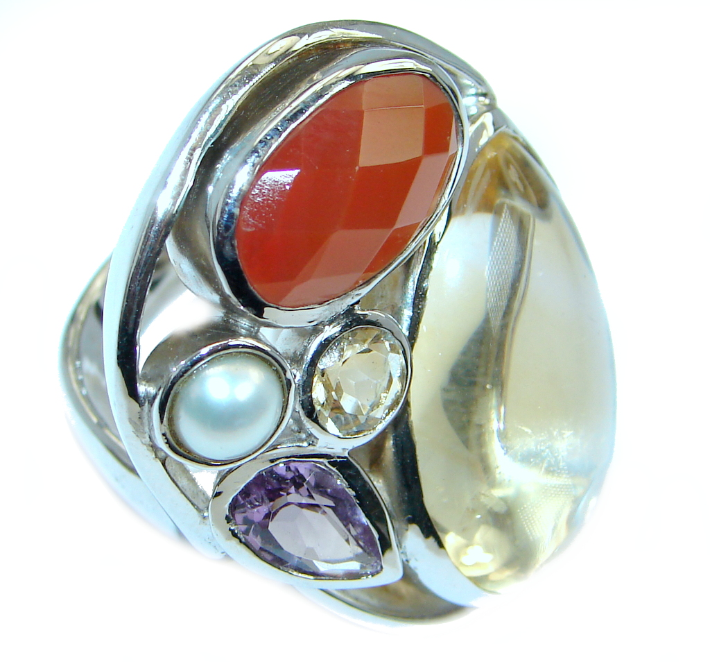 Energazing genuine Citrine Gold plated over Sterling Silver Ring size 8