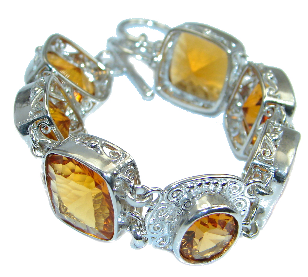 Chunky Faceted Golden Topaz Sterling Silver handmade Bracelet