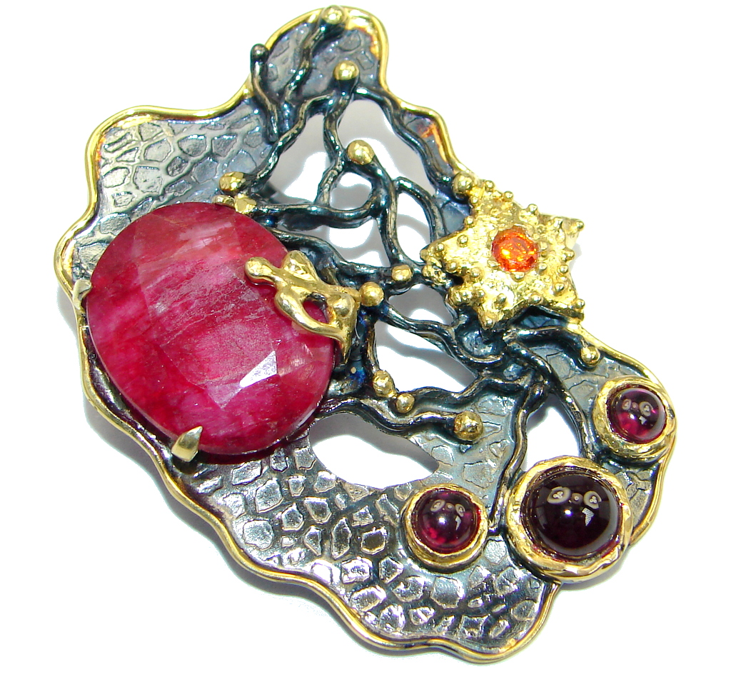 Huge Ruby Garnet Gold plated over Sterling Silver handmade Pendant