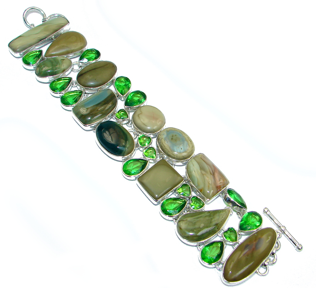 Bohemian Style Excellent quality Imperial Jasper Sterling Silver handmade Bracelet