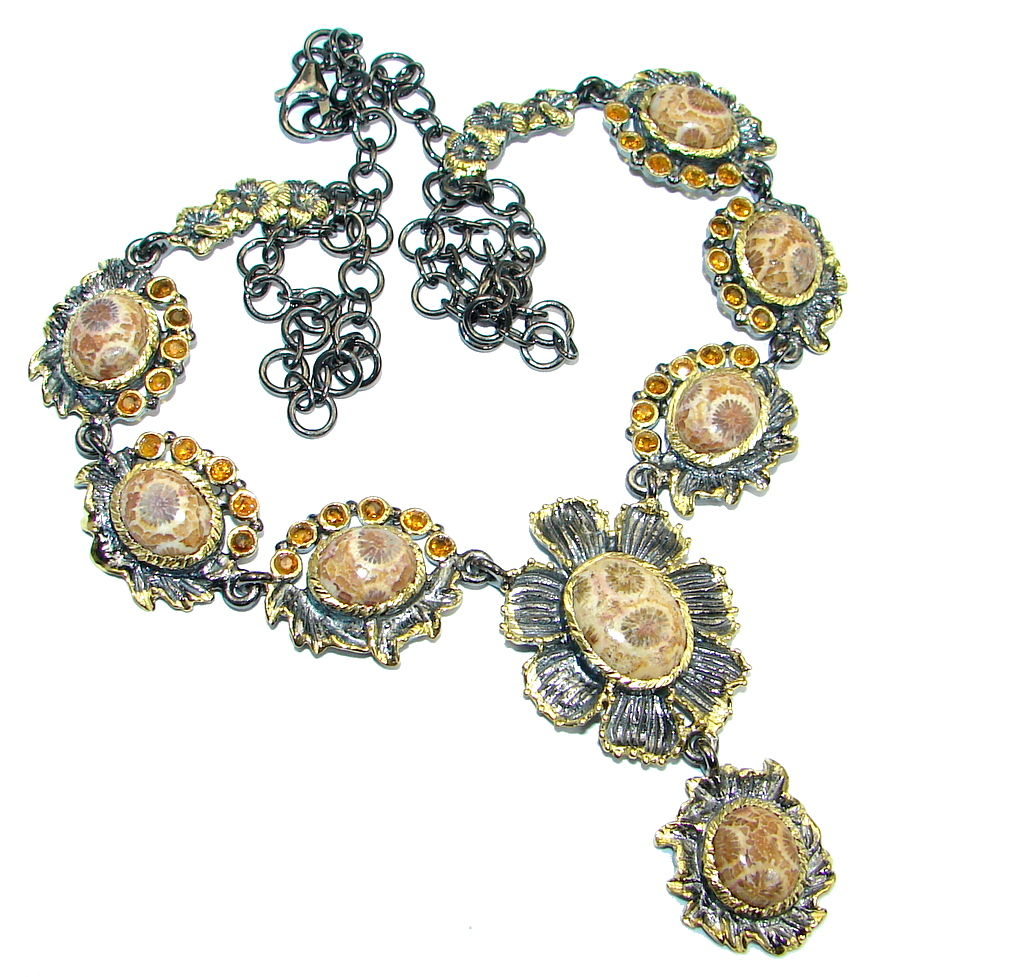 Orange Sapphire Fossilized Coral Gold plated over Sterling Silver handmade necklace
