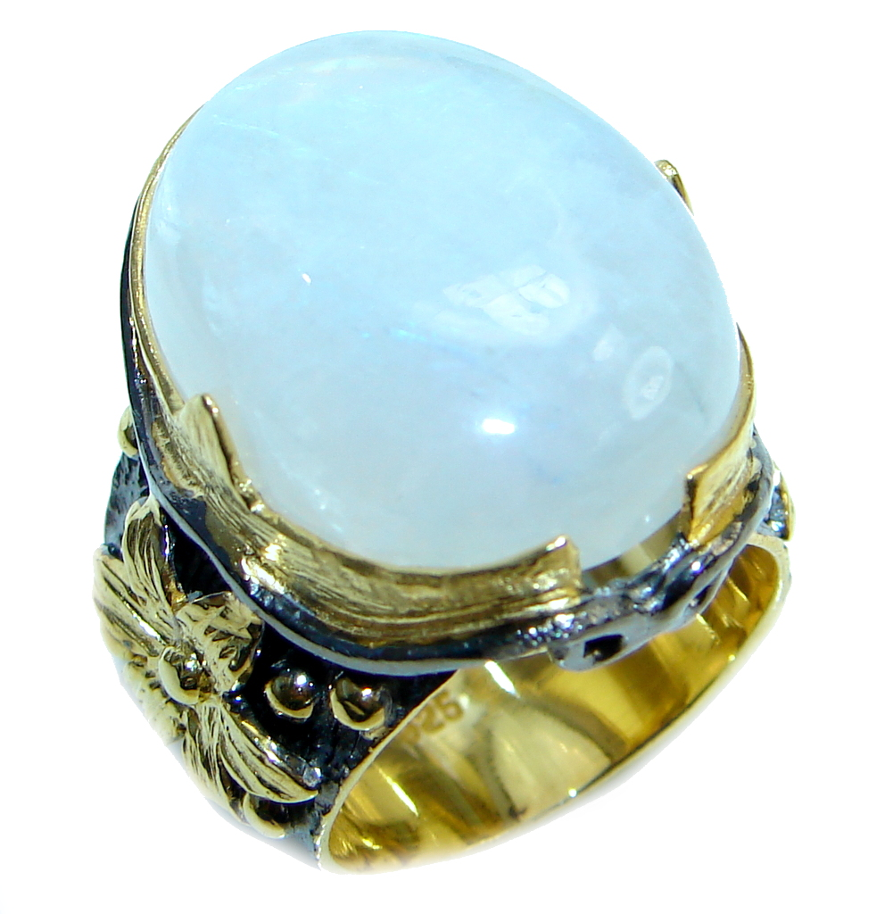 Huge Fire Moonstone Gold plated over Sterling Silver handmade ring size 7
