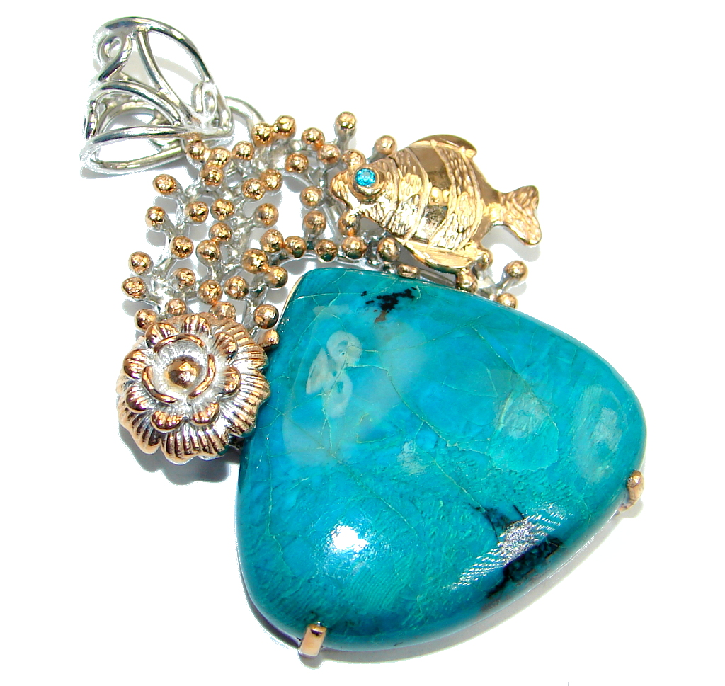 Big Stone Of Harmony Green Chrysocolla Gold plated overSterling Silver Pendant