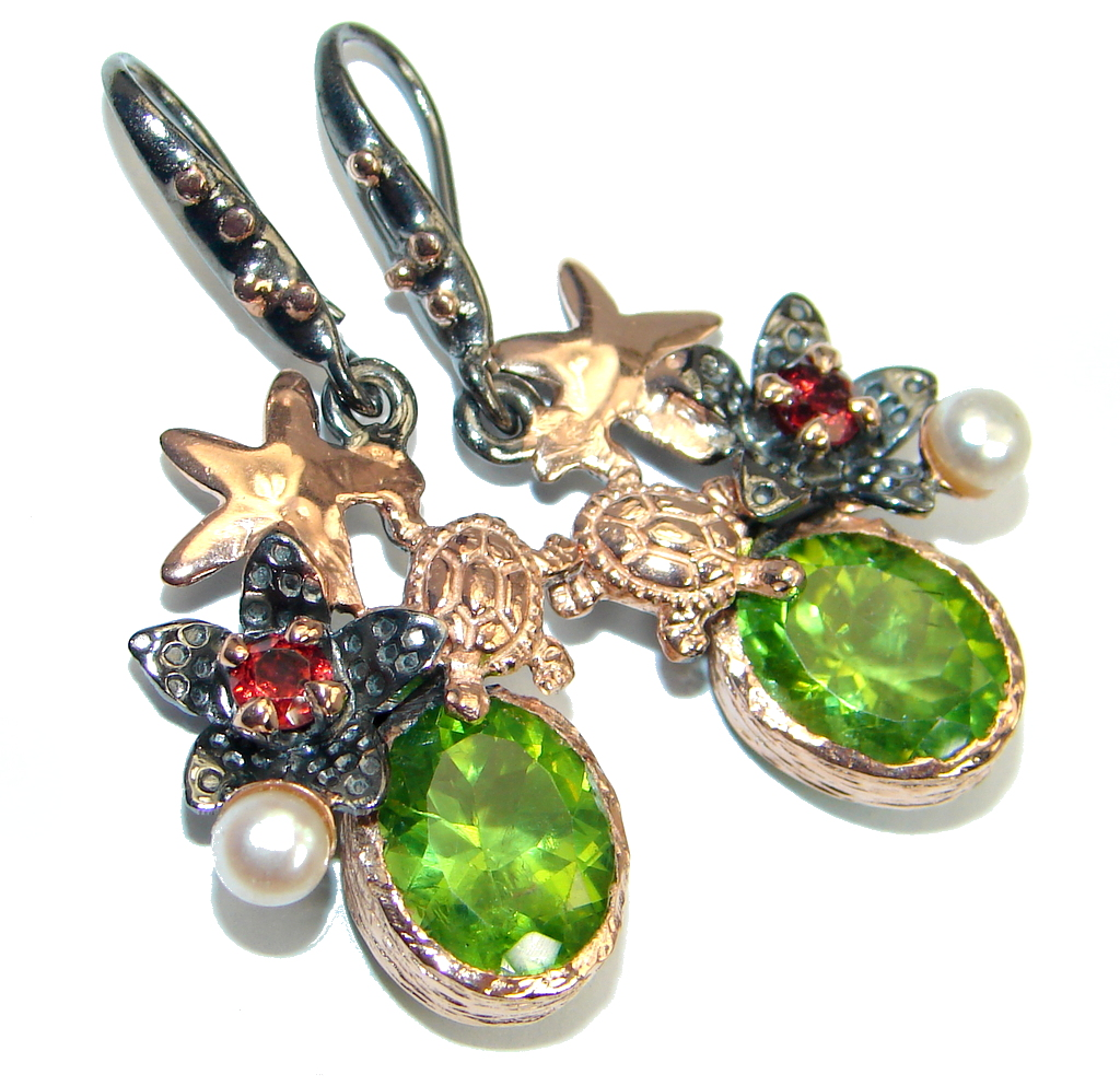 Genuine Peridot gold plated over Sterling Silver handamde earrings