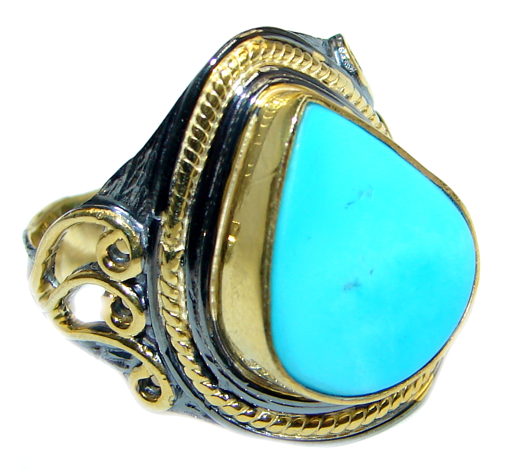 Excellent quality Sleeping Beauty Turquoise Sterling Silver handmade ring size 8 1/2