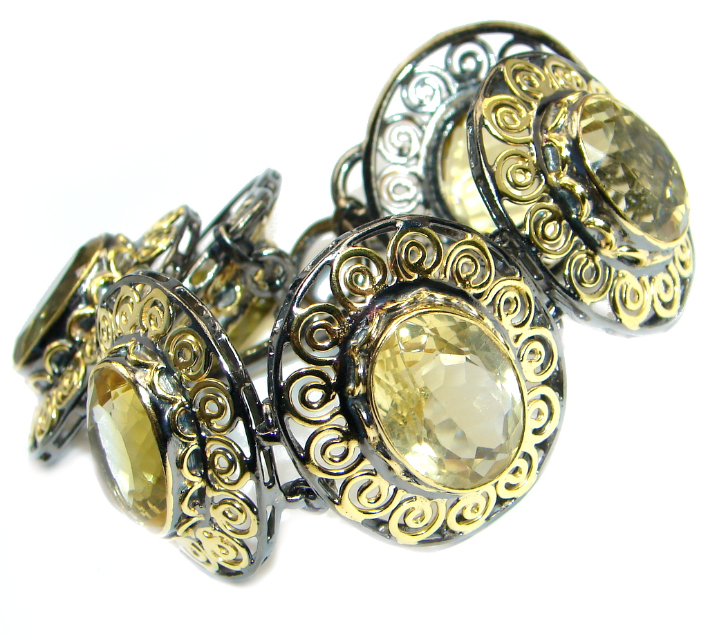 Real Treasure Genuine Citrine Gold plated over Sterling Silver handmade Bracelet