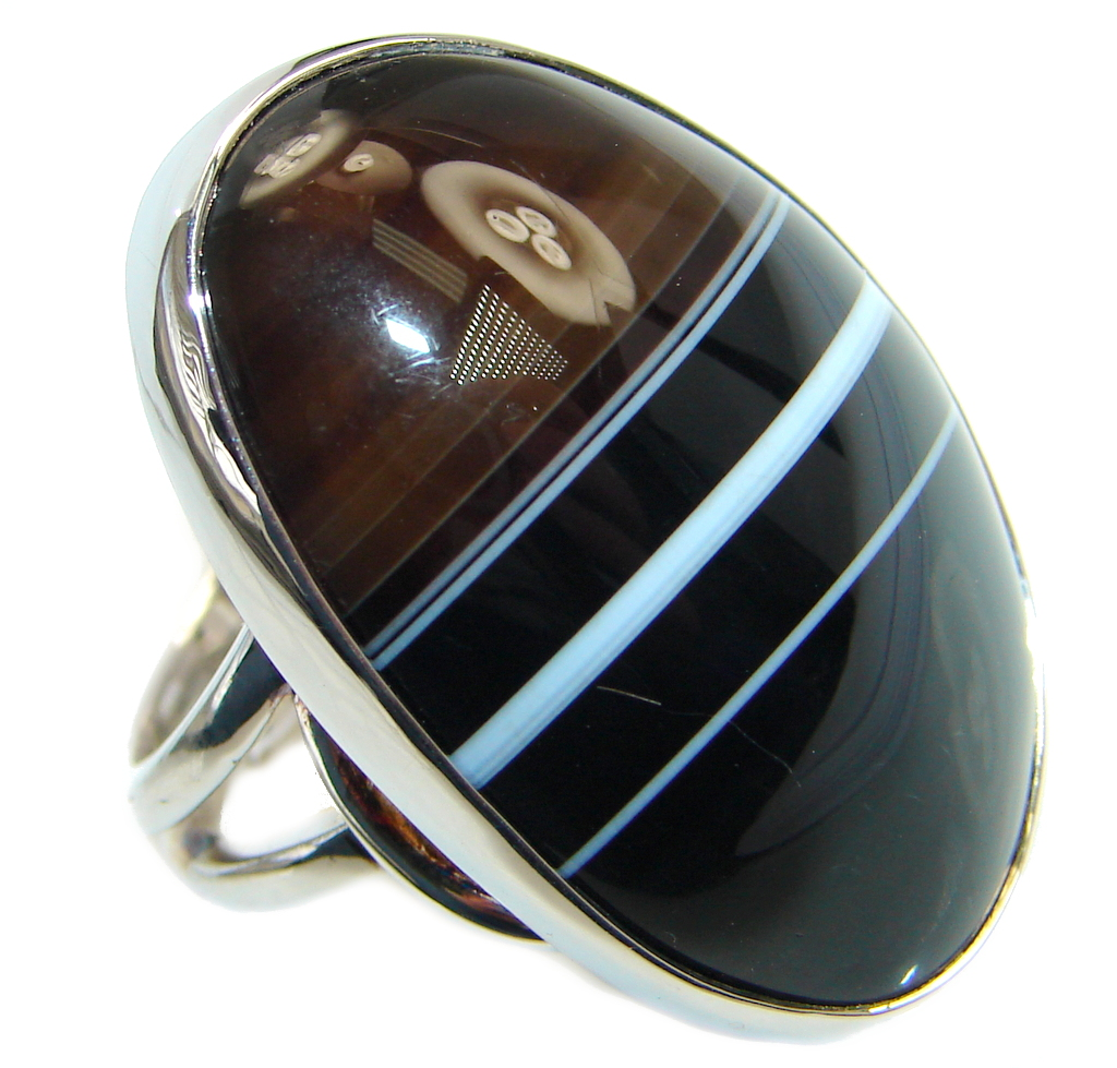 Huge AAA Black Onyx Sterling Silver handmade ring size 7 adjustable
