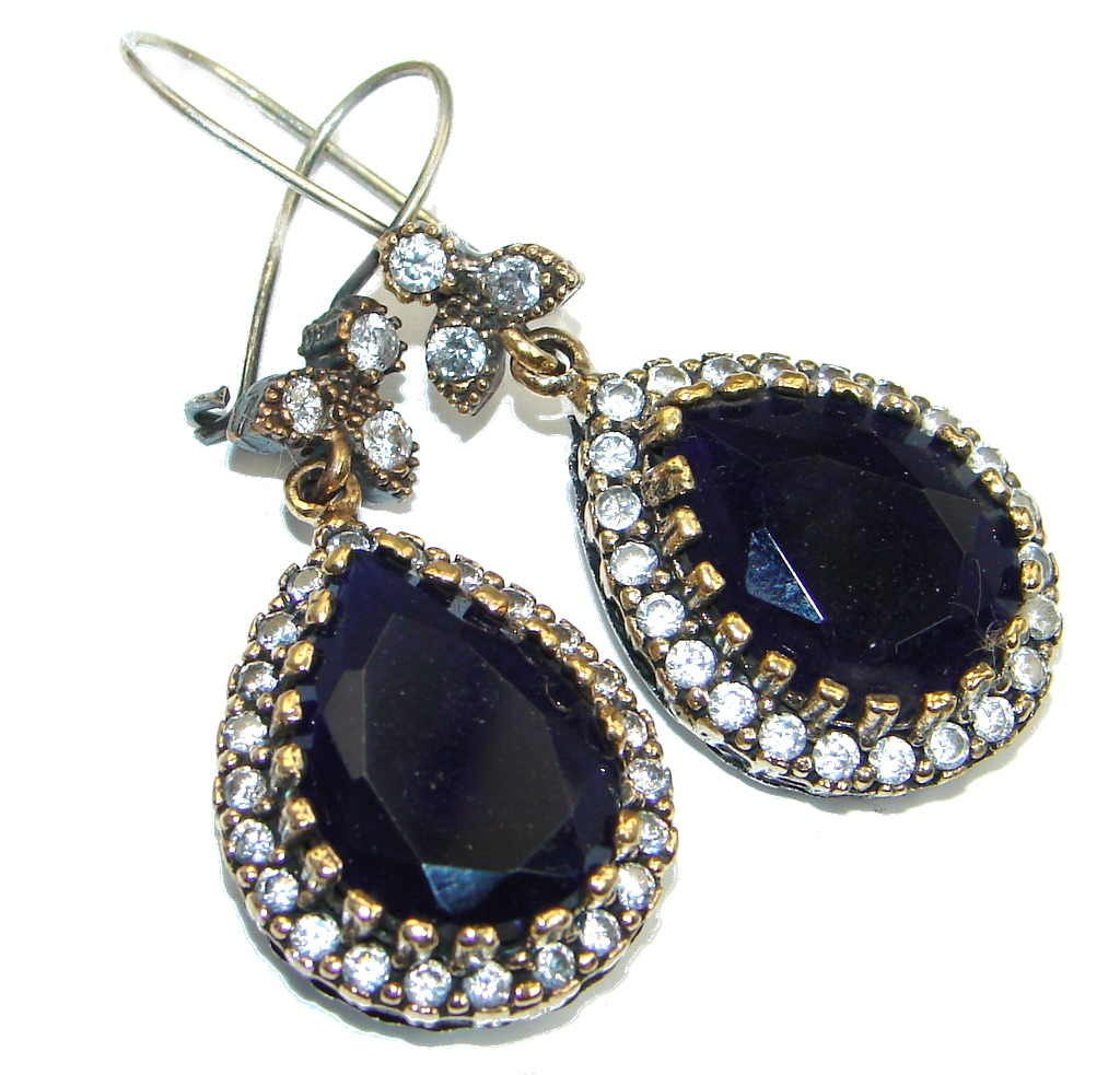 Huge Victorian Style created Sapphire Sterling Silver stud earrings