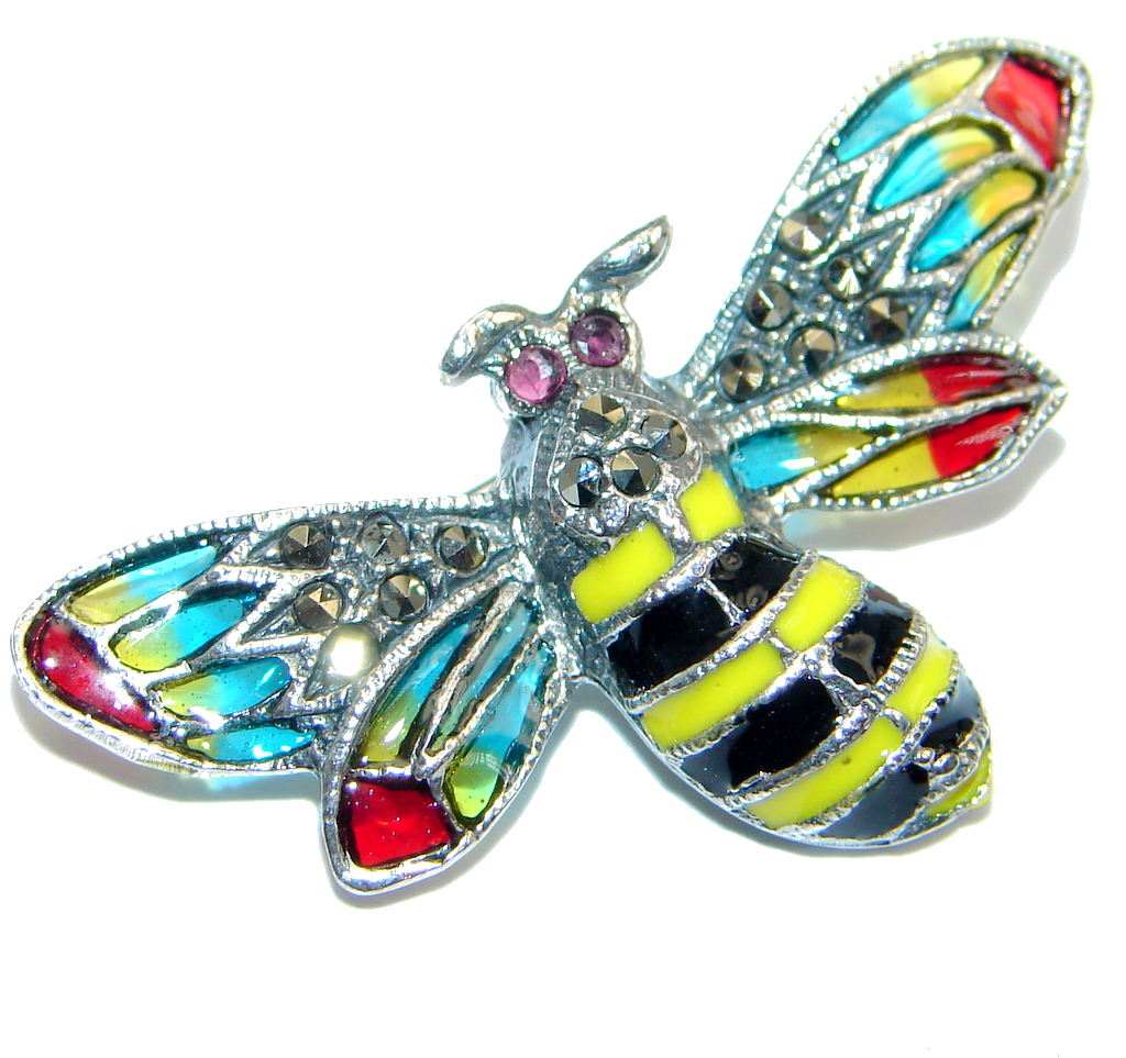 Awesome Natural Red Pink Ruby Marcasite 925 Sterling Silver Enamel Bee Brooch