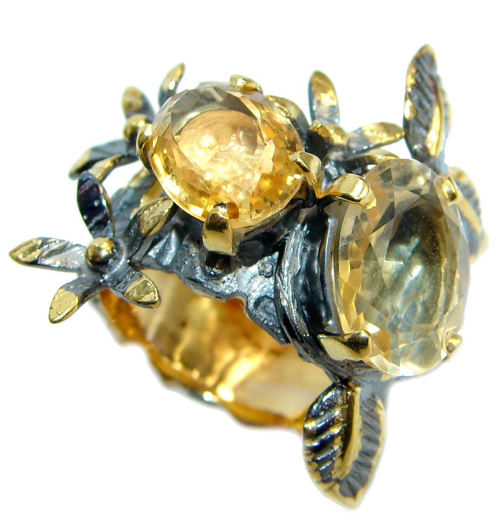Energaizing Yellow Citrine Gold plated over Sterling Silver Cocktail Ring size 8 1/4