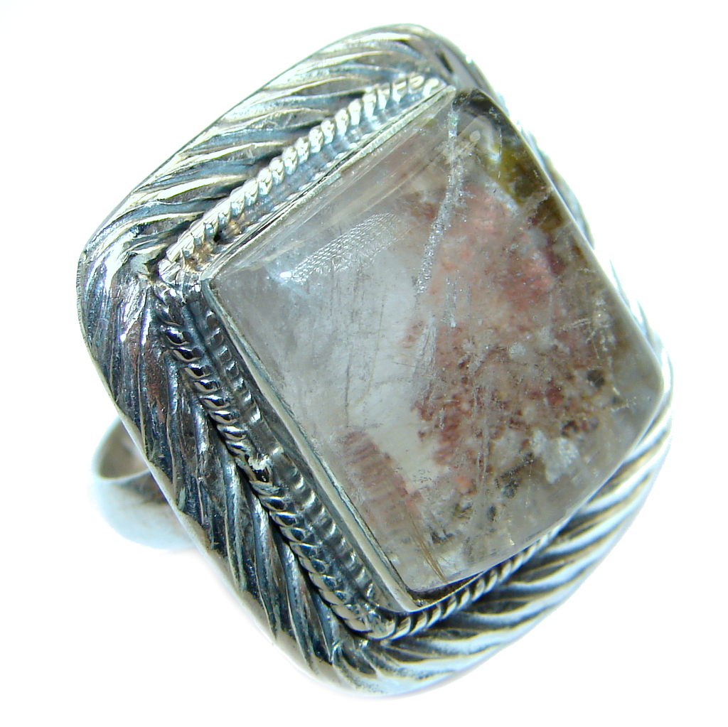 Gorgeous natural Sandstone Sterling Silver ring s. 6 1/4