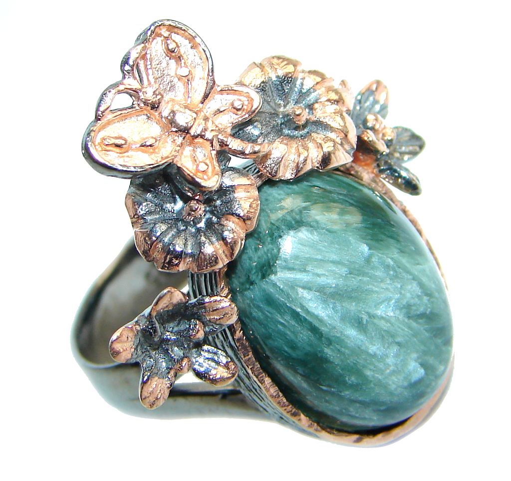 Huge great quality Green Seraphinite Rose Gold plated Sterling Silver Ring size 8