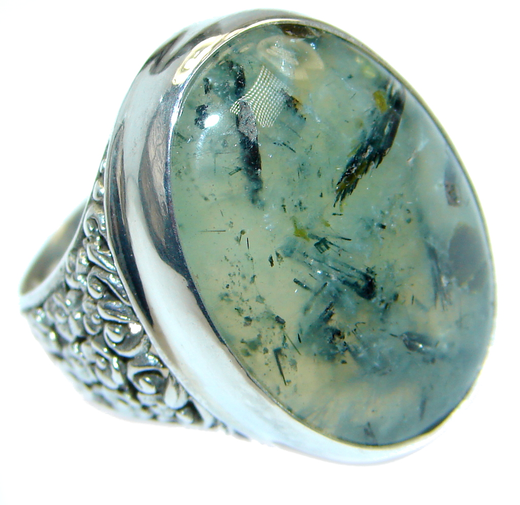 Supernova AAA+ Green Moss Prehnite Sterling Silver ring; s. 9 3/4