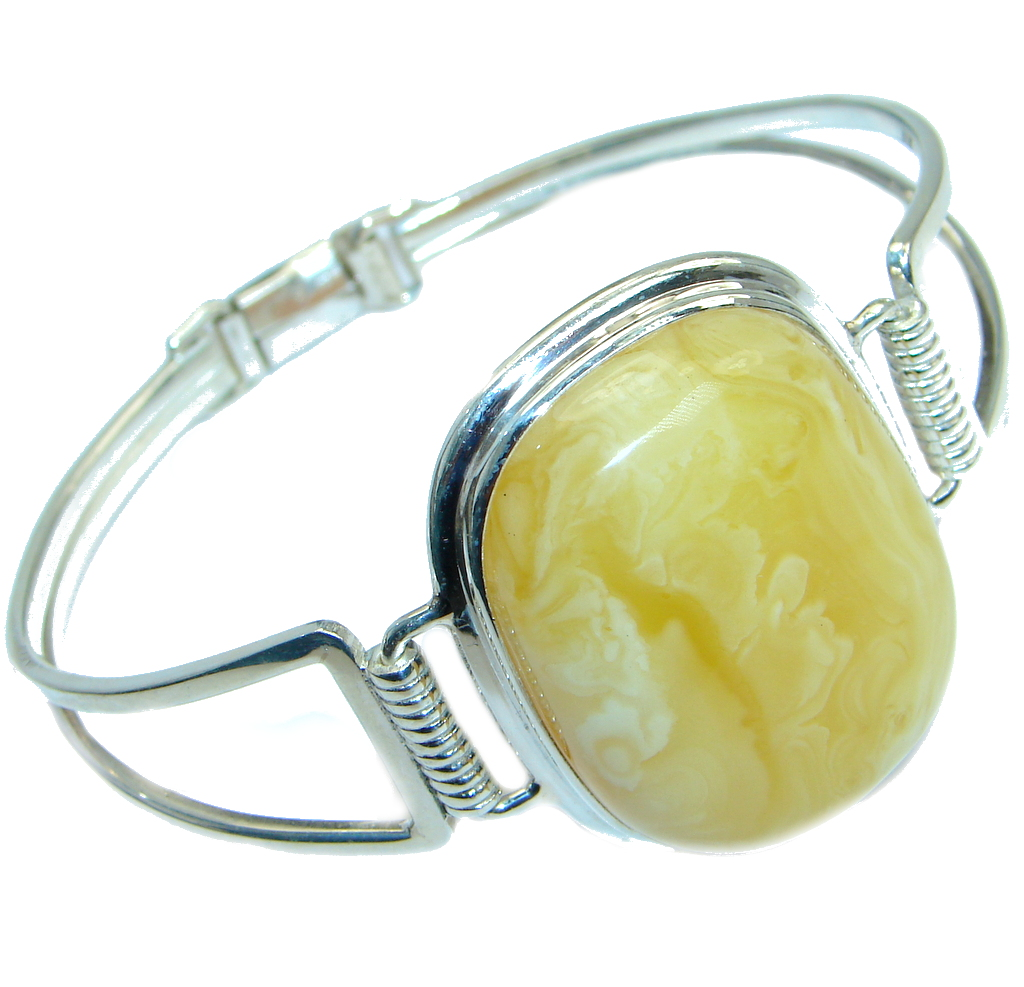 Wonderful genuine  Butterscotch  Baltic Amber Sterling Silver handmade Brace..
