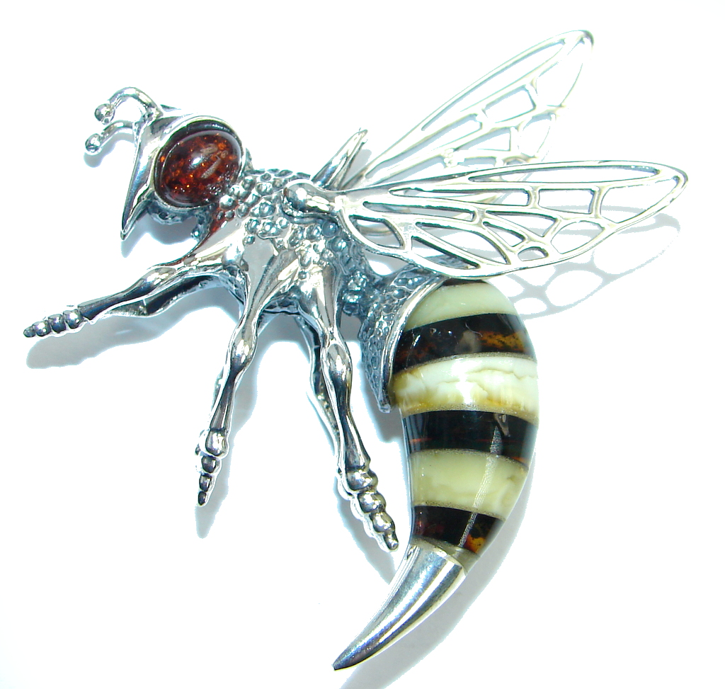 Large Masterpiece Honey Bee Baltic Polish Amber Sterling Silver Handmade Pen..