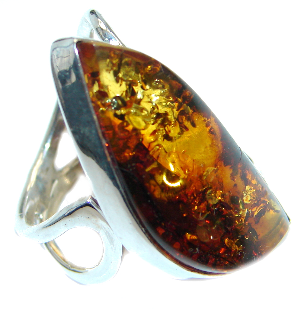 Chunky Genuine Baltic Polish Amber Sterling Silver handmade Ring size 7 1/4