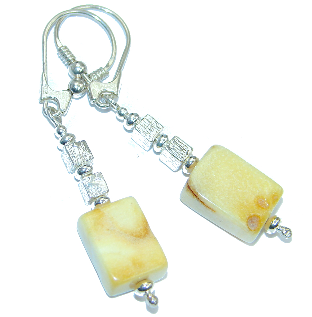 Luxury Genuine Baltic Polish Amber  Sterling Silver Earrings