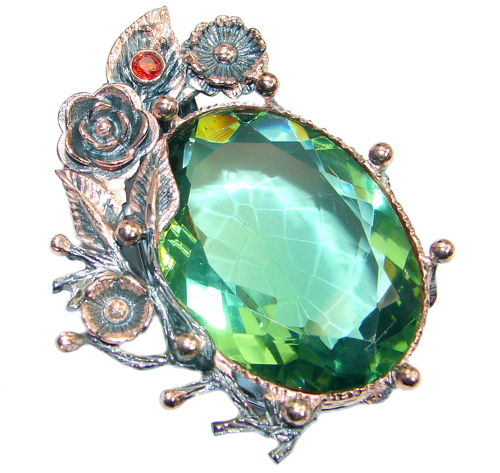 Enchanted created Emerald Rose Gold plated over Sterling Silver handmade Pendant
