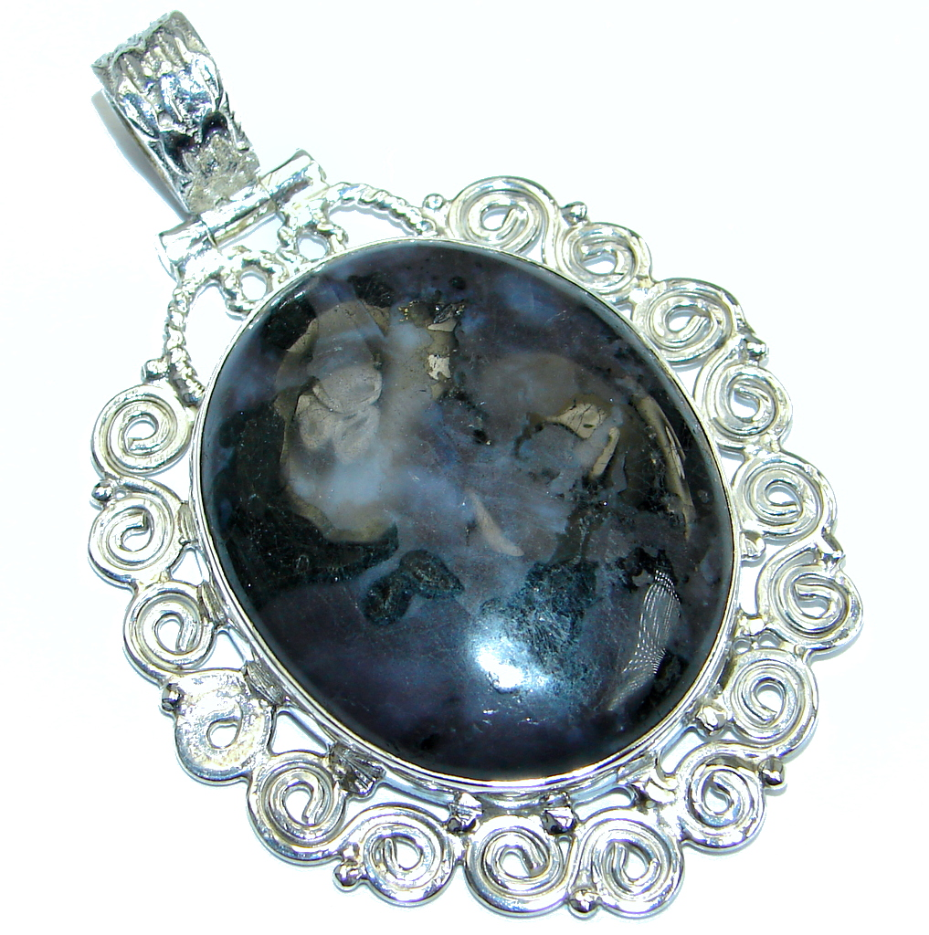 Amazing Black Obsidian Sterling Silver handmade Pendant