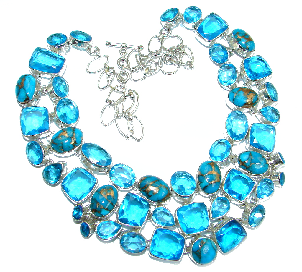 Unusal Style genuine Copper Turquoise lab. Blue Topaz Sterling Silver handmade necklace