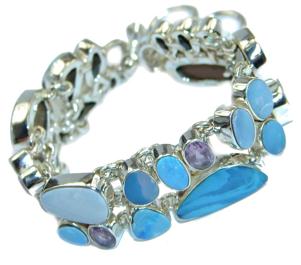 Genuine Australian Blue Fire Opal hammered Sterling Silver handmade Bracelet