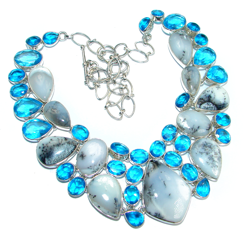 Oversized! Amazing Beauty Dendritic Agate & lab. Blue Topaz Sterling Silver necklace