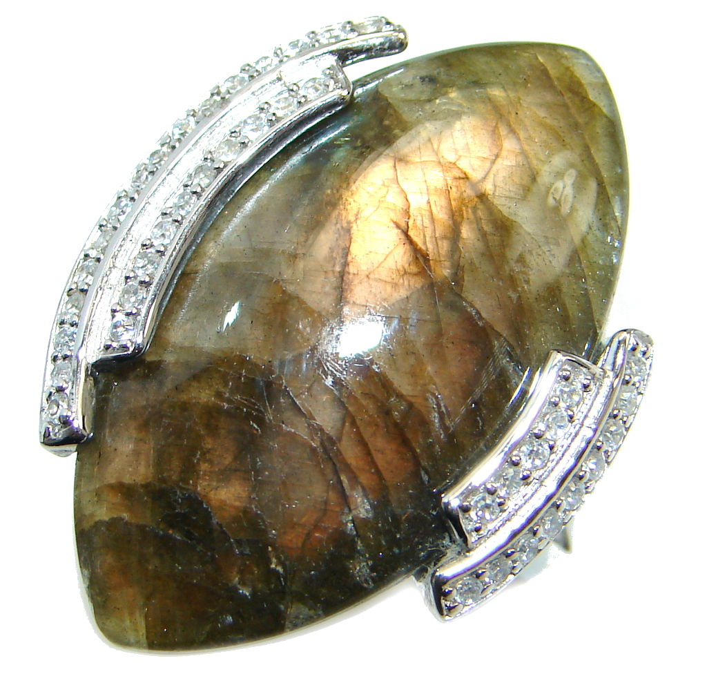 Big Fire Labradorite Sterling Silver handmade ring size 9