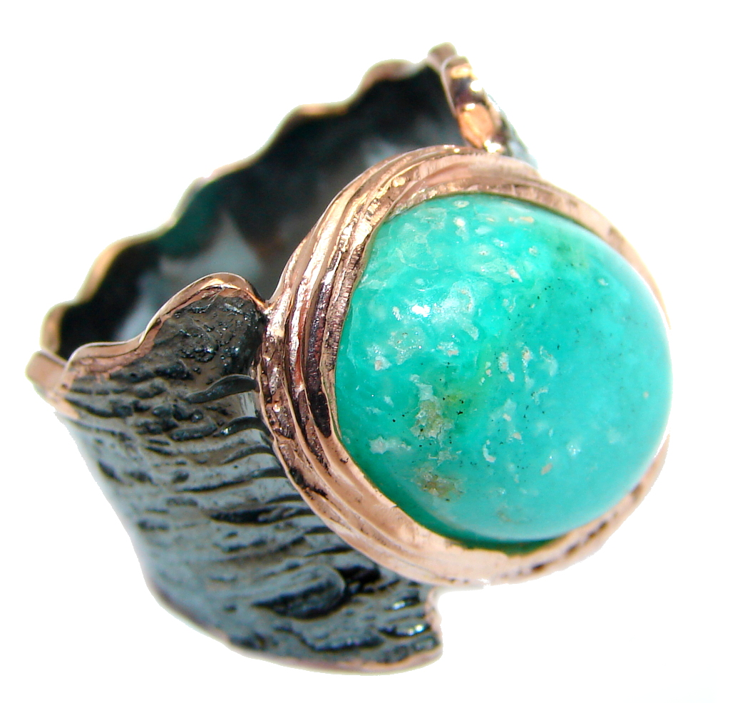 Always Together Blue Larimar Chrysophrase Gold Rhodium plated over Sterling Silver Ring s. 6 3/4