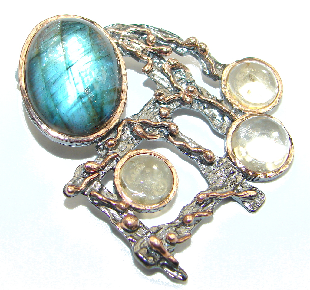 Enchanted Forest Highest quality Blue Labradorite Sterling Silver handmade Pendant