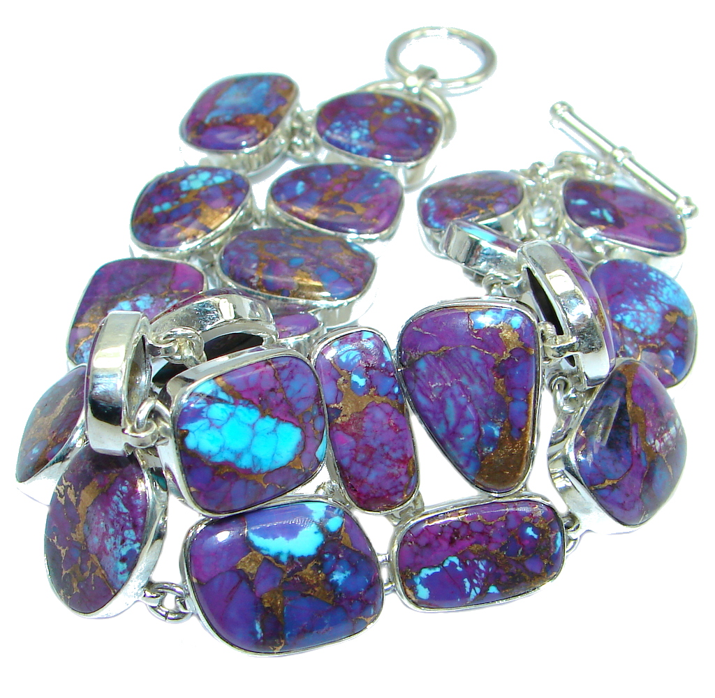 Large Purple Turquoise with copper vains Sterling Silver handmade Bracelet