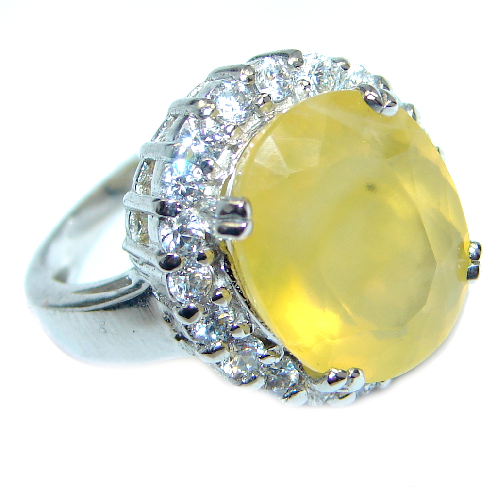Big Energazing genuine Citrine Sterling Silver Coctail Ring size 6 3/4