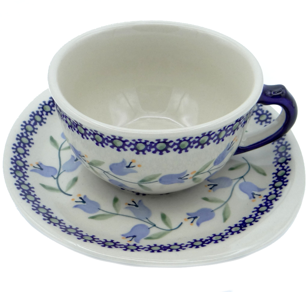 SilverrushStyle - Polish Pottery Teacup & Saucer - Lilies of the valley Collection 120092