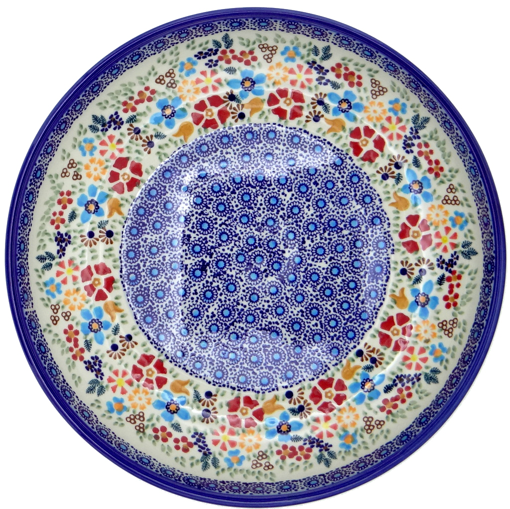 SilverrushStyle - Polish Pottery Large Pasta Bowl - Flower Hill collection 120106