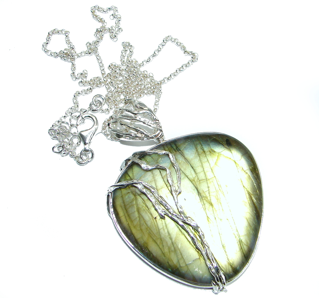 Chunky Cascade of Lights Labradorite Sterling Silver entirely handcrafted necklace