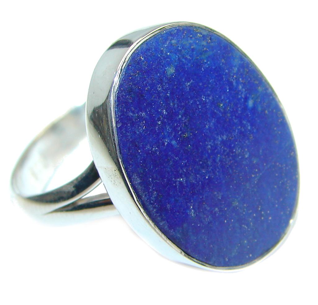 Genuine Lapis Lazuli Sterling Silver handmade Ring size 7 adjustable
