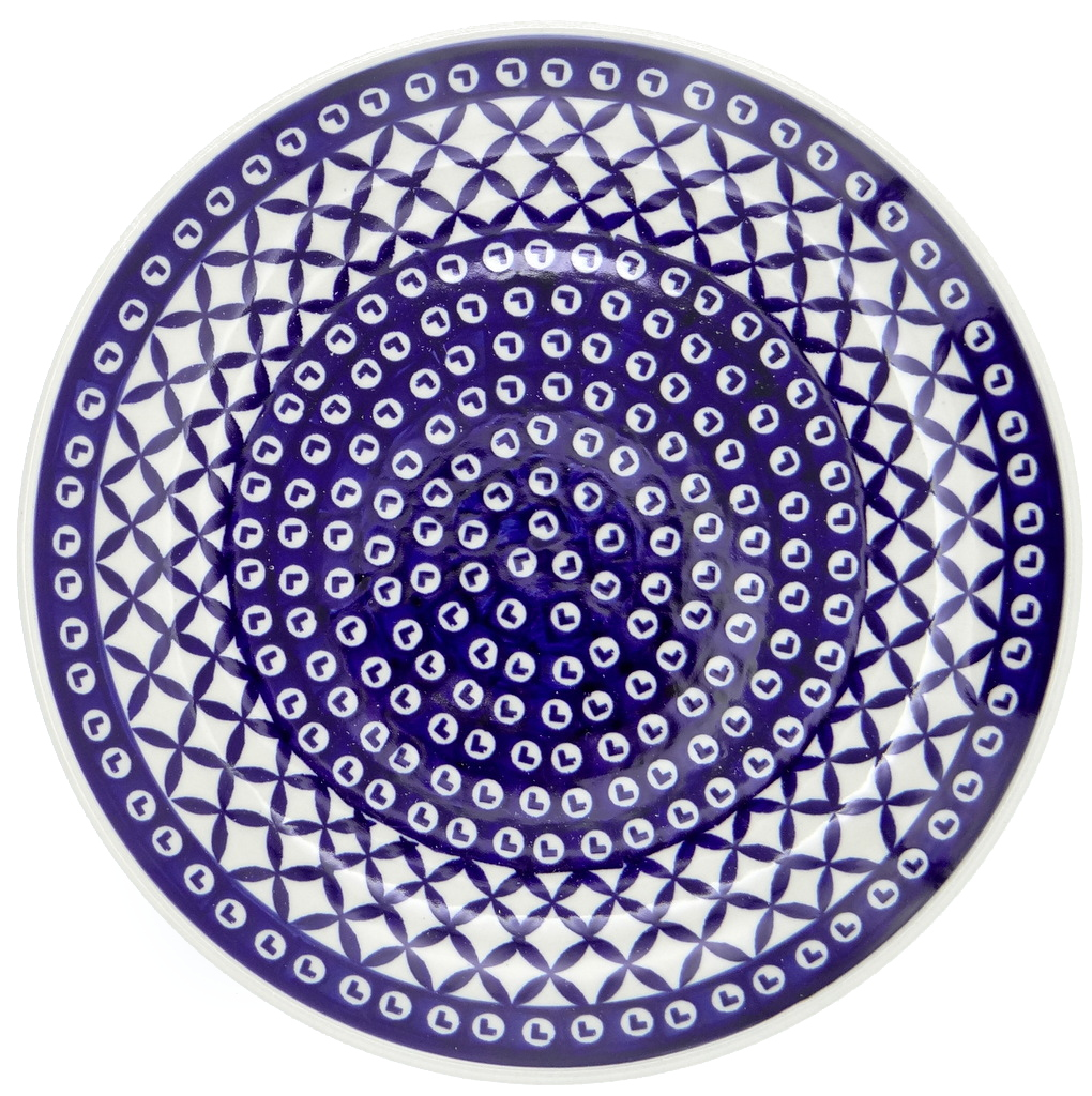 SilverrushStyle - Polish Pottery Large Dinner Plate - Blue Arrow Collection 120229