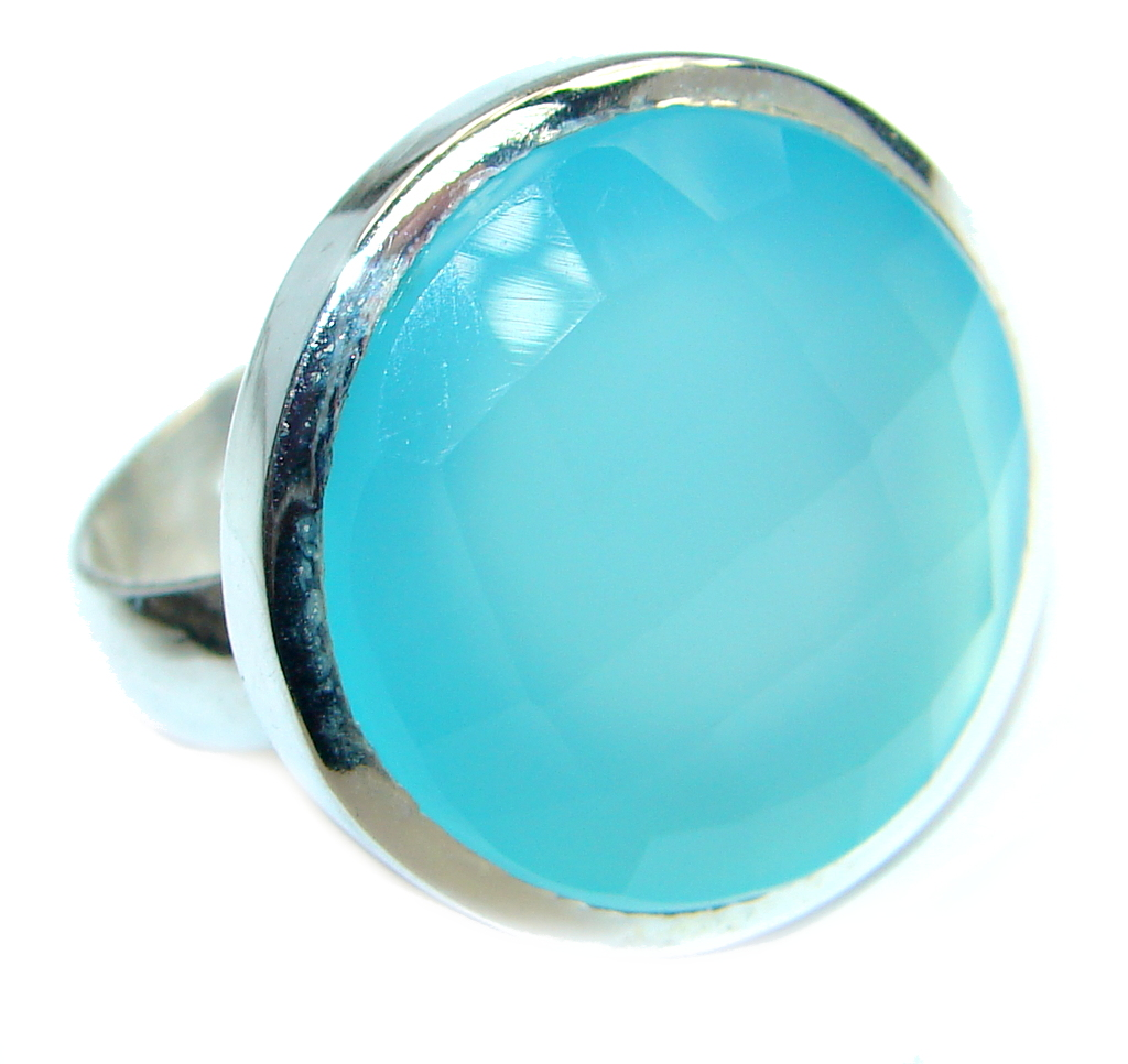 Blue Chalcedony Agate Sterling Silver Ring s. 9