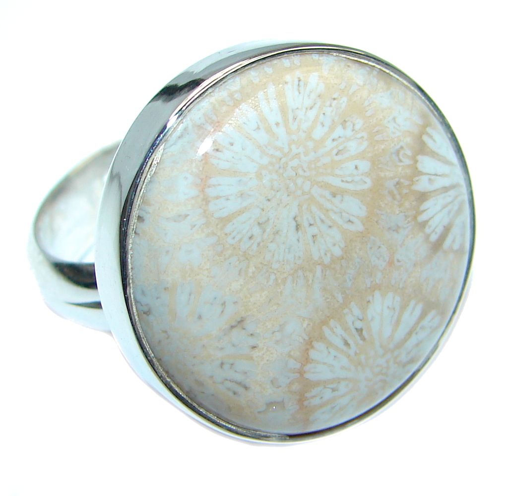 Great quality Fossilized Coral Sterling Silver handcrafted Ring size adjusta..