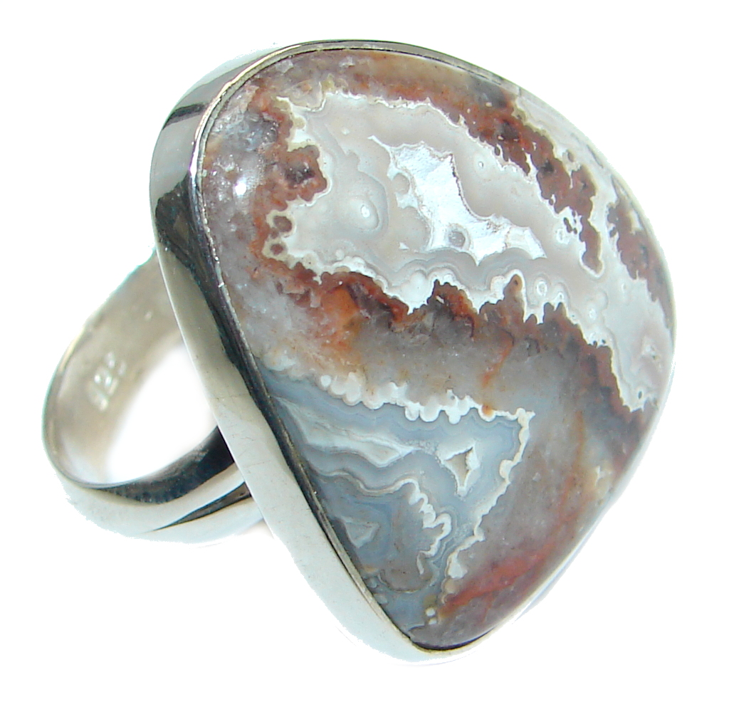 Amazing Rosetta Picture Jasper Sterling Silver ring s. 7 adjustable