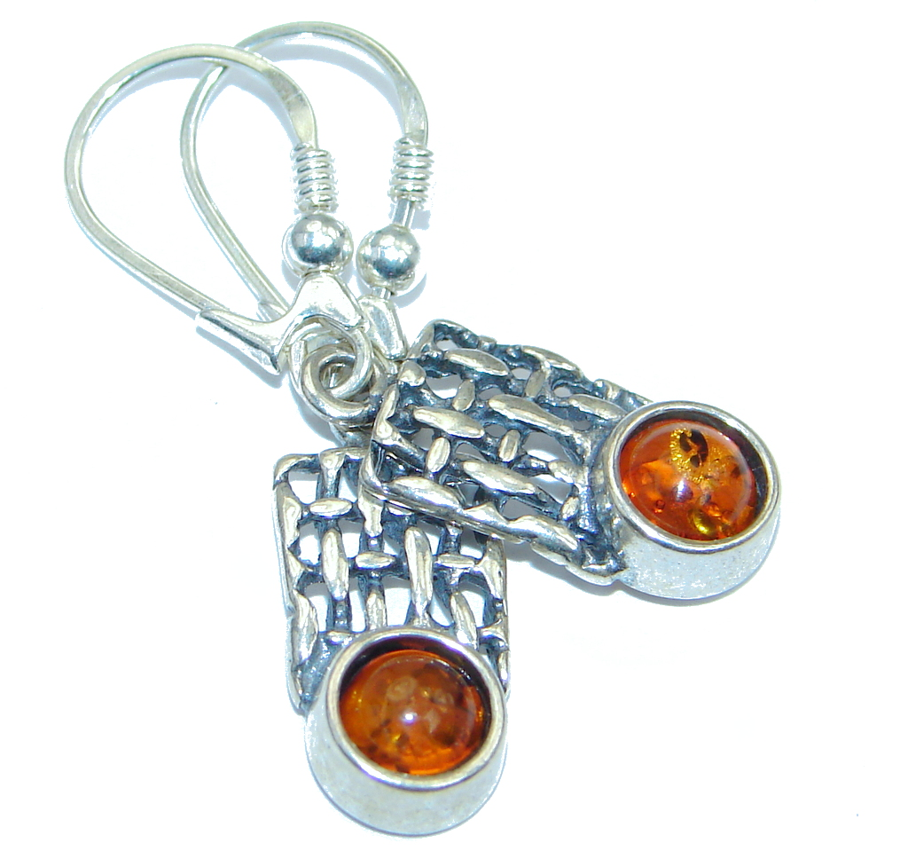 Romantic Genuine  Baltic Polish Amber Sterling  Silver handmade Earrings