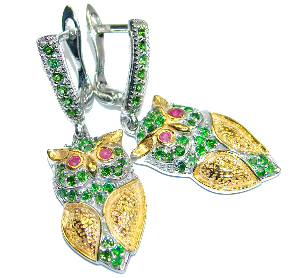 Awesome Natural Top Green Chrome Diopside Ruby 925 Sterling Silver Owl Earrings