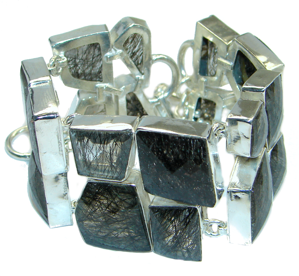 Get Glowing Tourmalinated Quartz Sterling Silver handcrafted Bracelet
